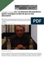 Jacques Rancière_ _La denuncia del populismo quiere consagrar la idea de que no hay alternativa_