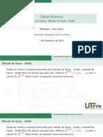 Sistemas Lineares Gauss Seidel