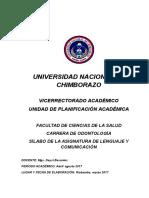 Sílabo Lenguaje y Comunicación Odontología Primero