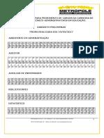 GABARITO+PRELIMINAR+TECNICO-ADMINISTRATIVO+EM+EDUCAÇÃO+EDITAL+162_2016