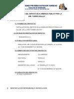 """""""Instalacion Del Servicio de Alumbrado Publico Para La Urb. Torres Araujo"""""""