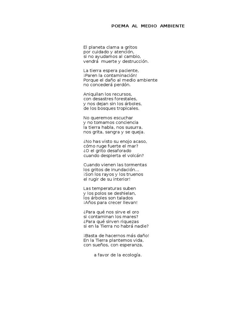 Poema Al Medio Ambiente