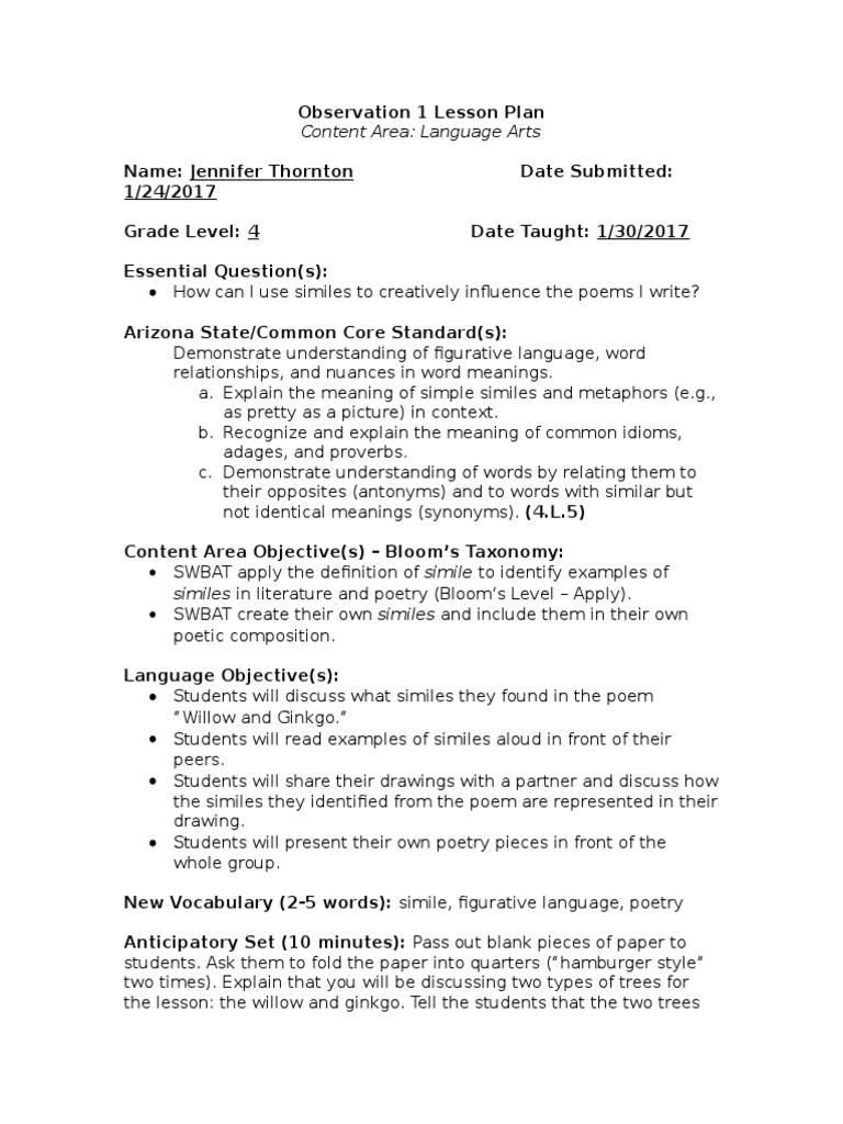 Thornton J Observation 1 Lesson Plan Language Arts Poetry Cognition