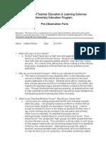 preobservationform- elm 375 lesson study