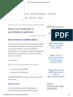 Short Cut Methods in Quantitative Aptitude-Aptitude Tricks