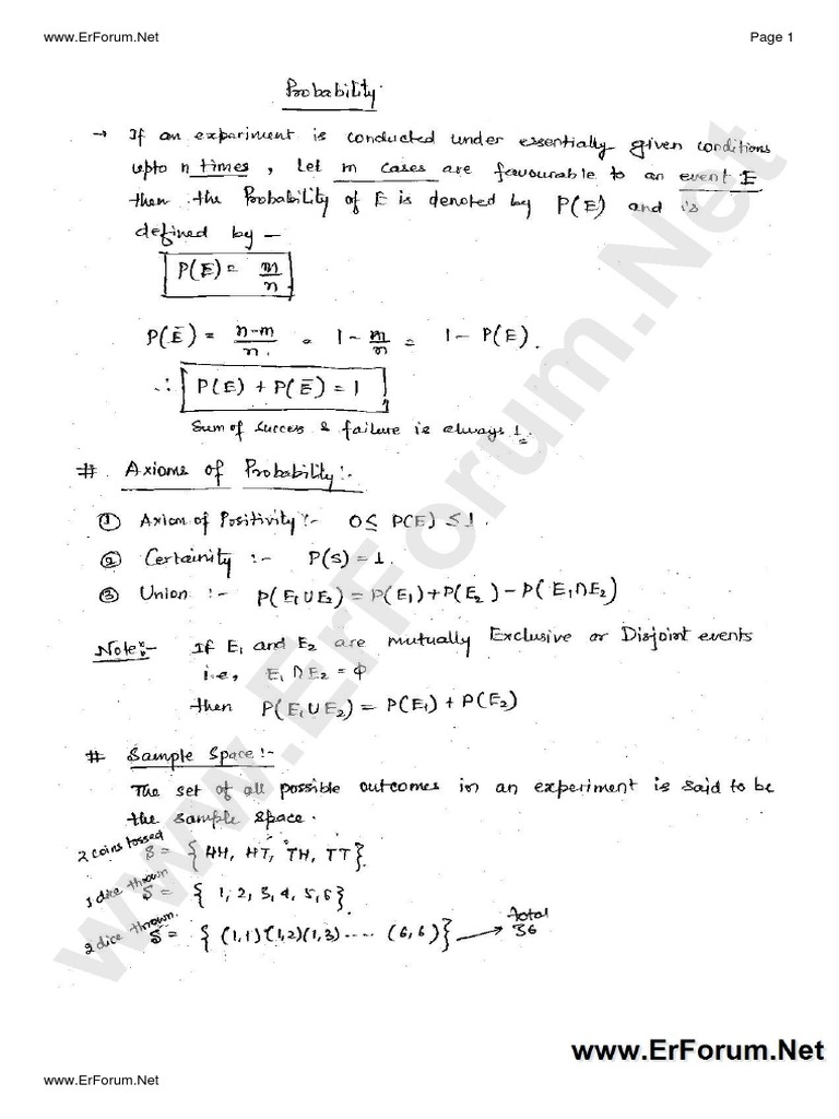 Probability and Statistics Handwritten Notes-2 pdf