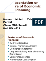 Features of Economic Planning
