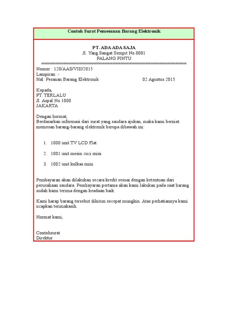 Contoh Surat Pemesanan Barang Elektronik