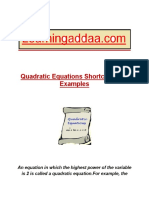 1 Quadratic Equation Shortcut Tricks