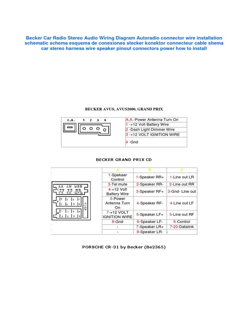 Becker Car Radio Wiring Diagrampdf T40 Diagram