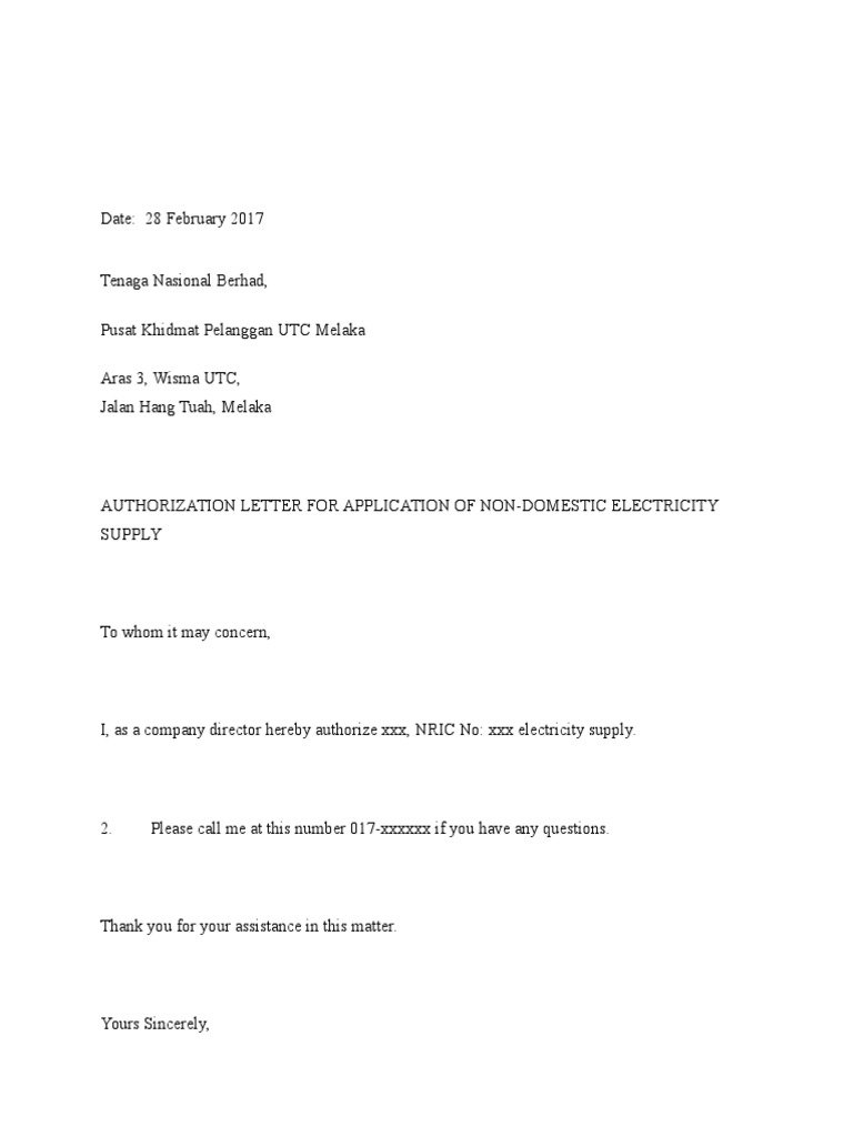 Sample Authorization Letter To Tnb Malaysia