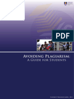 Avoiding Plagiarism a Guide for Students