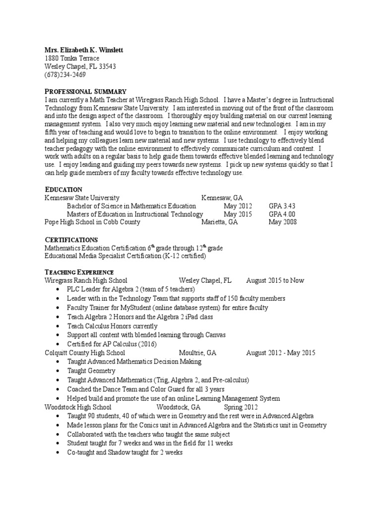 Resume secondary school teachers 1betcityfo Image collections