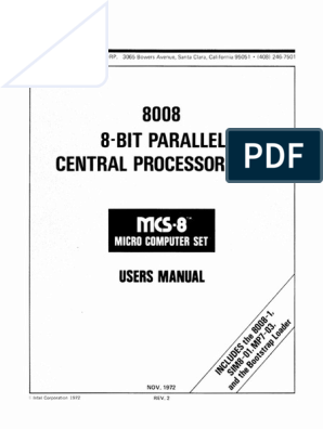 Intel 8008 Users Manual | Instruction Set | Central