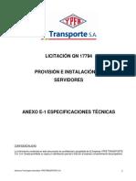 Anexo E-1 Especificaciones Técnicas
