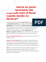 Puede Leerse en Juicio Las Declaraciones Del Imputado Ante El Fiscal Cuando Decide No Declarar