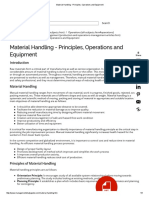 Material Handling - Principles, Operations and Equipment
