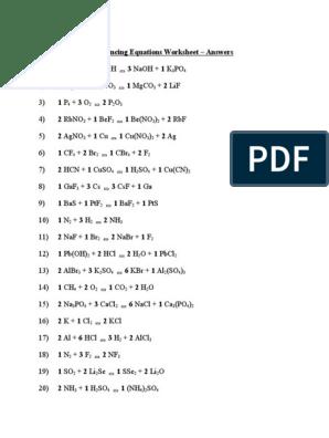 Balancing Equations Worksheet Answers Chemical Substances Mole Unit