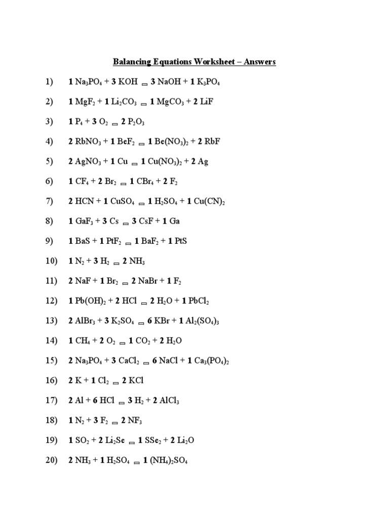 balancing equations worksheet answers | Chemical Substances ...