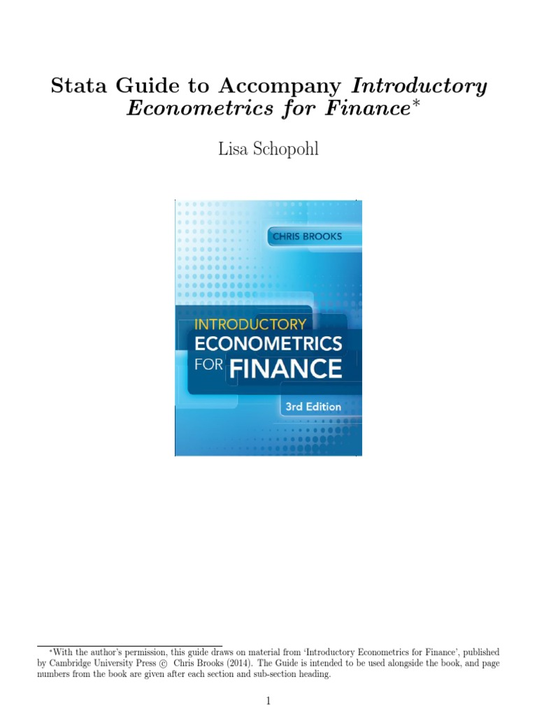 Stata Guide to Accompany Introductory Econometrics for Finance
