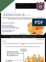 Obtención del aceite esencial de la cascara de naranja por hidrodestilación