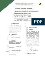 Informe - PRÁCTICA No. 3. Regulación & Eficiencia de Un Transformador.