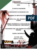 5. Educación en La Actual Sociedad Del Conocimiento, Información y Resumen.
