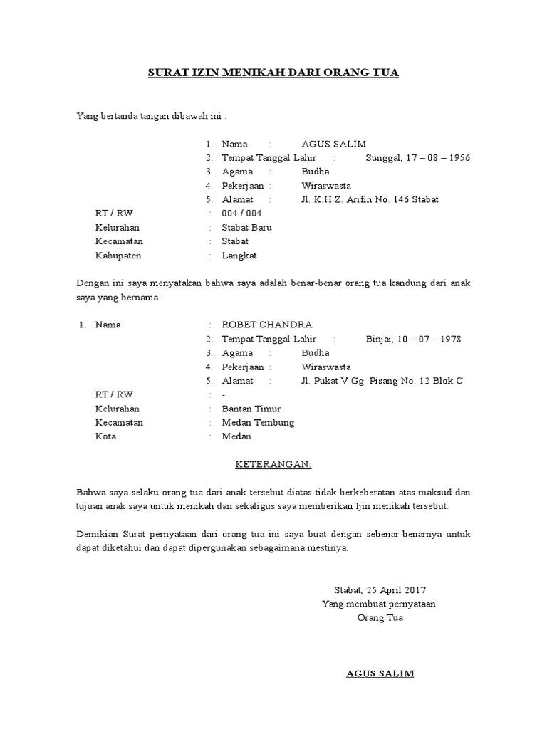 Contoh Surat Pernyataan Izin Orang Tua Top 10 Work At Download