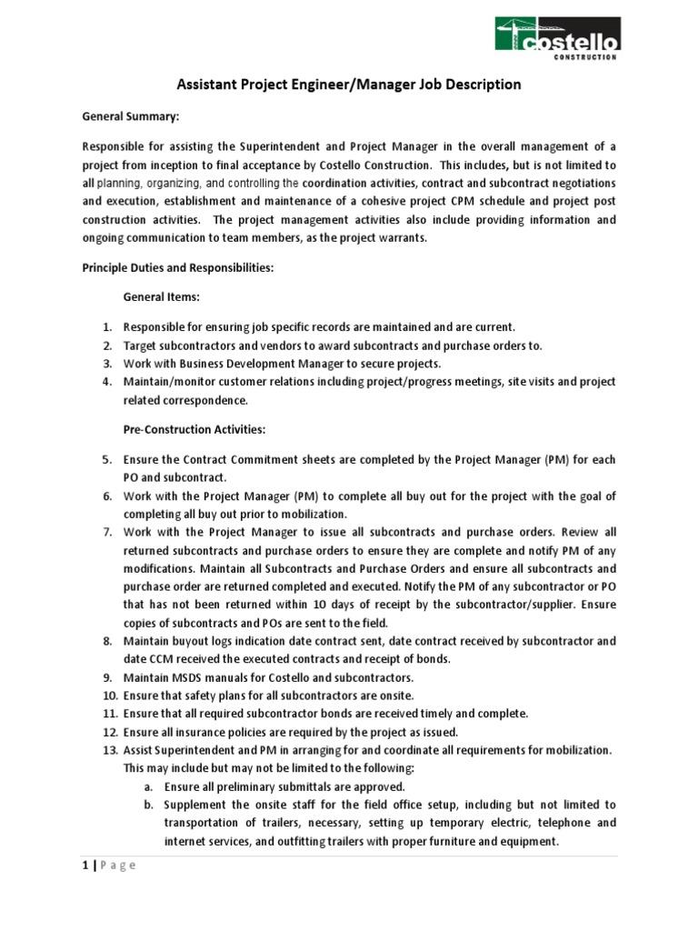 Assistant Project Engineer Manager Job Description   PDF ...