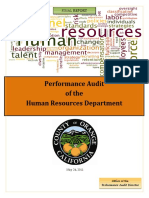 Performance Audit of the Human Resources Department of Orange County CA