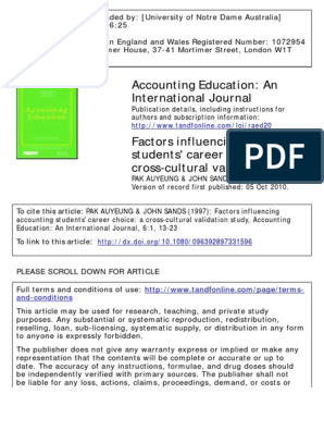 1997 Factors Influencing Accounting Students' Career Choice