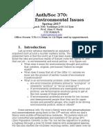ANT-SOC 370 Global Environmental Problems - Spring 2017