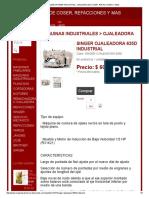 Singer Ojaleadora 635d Industrial - Maquinas de Coser, Refacciones y Mas