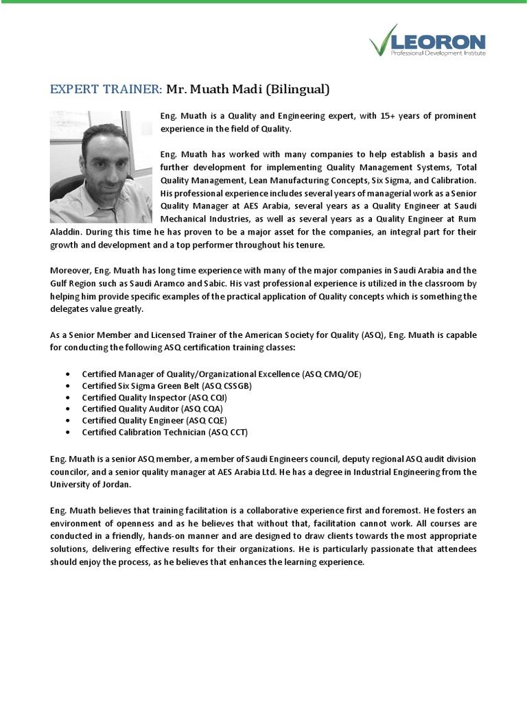 Muath Madi (2016) | Six Sigma | Saudi Arabia