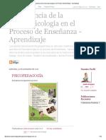 Importancia de La Neuropsicología en El Proceso de Enseñanza - Aprendizaje