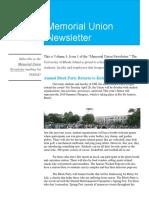 URI Memorial Union Newsletter
