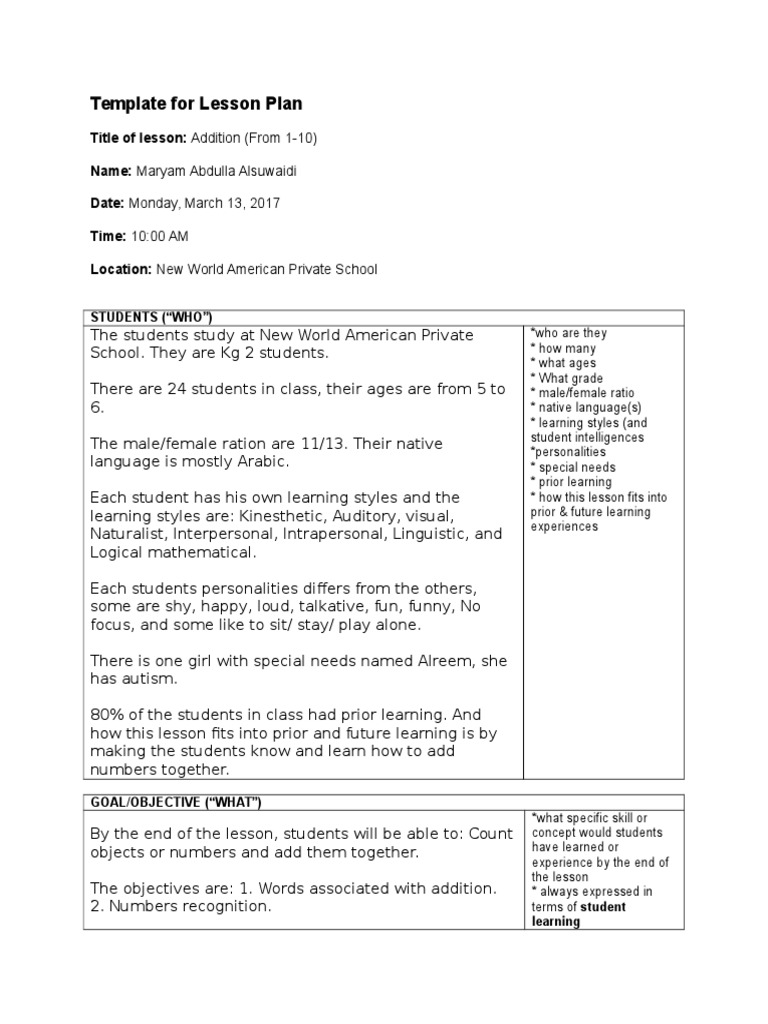 New World Template For Lesson Plan 2 Learning Styles Psychology