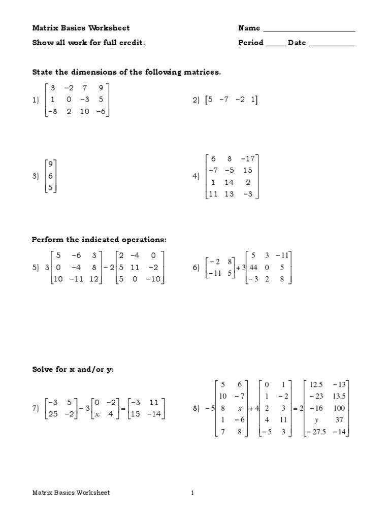 Worksheets Matrix Worksheets matrix worksheets 3 sections mathematics theory