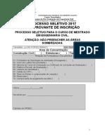 Anexo i Formulario Inscricao Processo Seletivo 2017