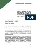 Recomendación de la CNDH a la CDH Puebla