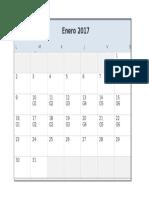Calendario 2017 Excel Lunes a Domingo