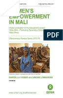 Women's Empowerment in Mali: Impact evaluation of the educational project: 'Girls CAN – Promoting Secondary Education in West Africa'
