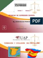Primera Semana Formac y Evol Del Castellano