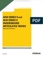 Manual Maintenance Intervals Caterpillar Ad40 Ae40 II Underground Articulated Trucks