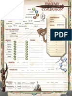 Fantasy Companion Character Sheet Fillable