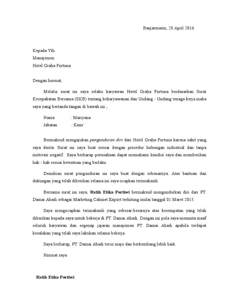 Contoh Surat Pengunduran Diri Kerja Word - Contoh Seputar ...