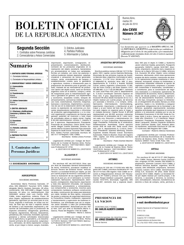 Boletin Oficial 20-07-10 - Segunda Seccion