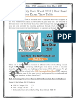 CCS University Date Sheet 2017 | Download UG/PG Courses Exam Time Table
