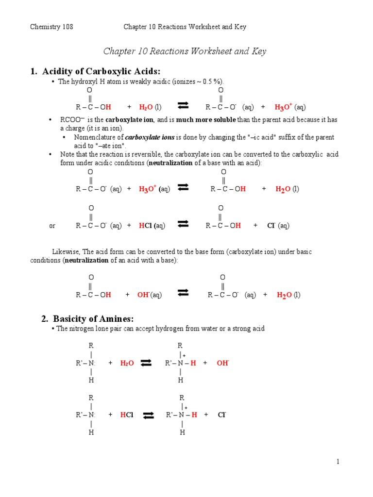 worksheet Amines Worksheet ch10 reactions worksheet and key 05 7 09 pdf ester carboxylic acid