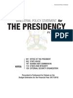 FY 2017/18 ministerial policy of the Office of the President